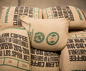 Showing coffee sacks