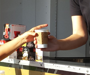 Showing Coffee to go is being sold