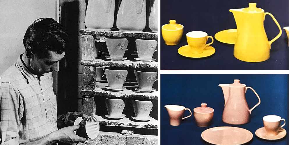 Showing pastel-colored Melitta earthenware pots and filter cones