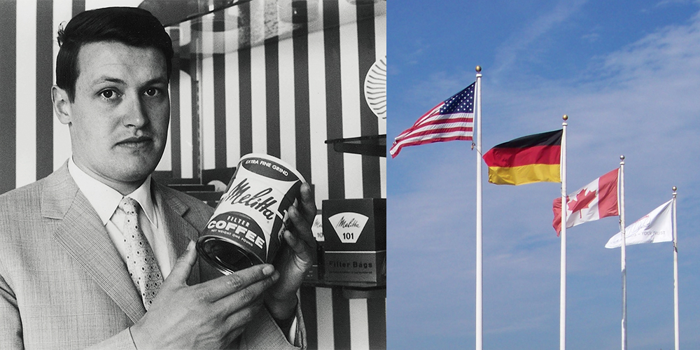 Showing flags and man with melitta coffee can